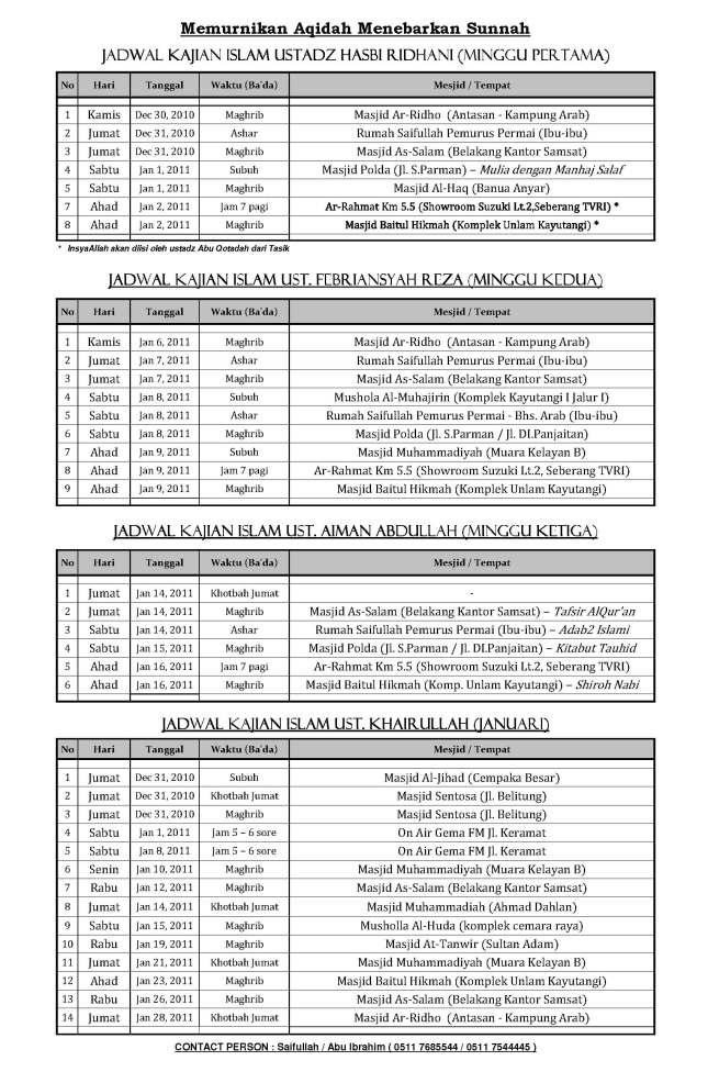 Jadwal Kajian Islam Ilmiah bulan Januari 2011 di Banjarmasin