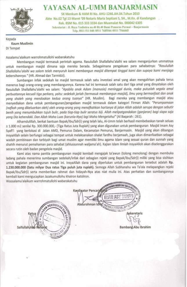 proposal masjid Imam Asy Syafii Banjarmasin