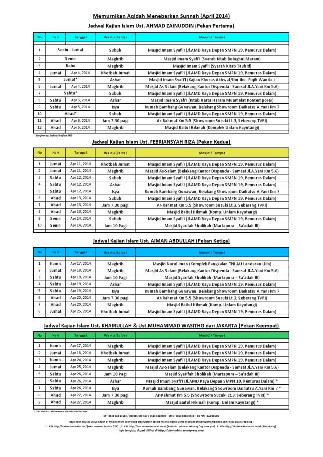 jadwal april 2014 banjarmasin