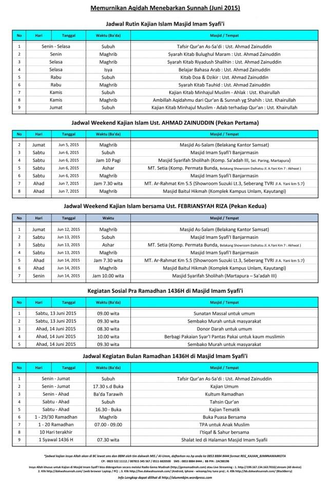 Jadwal Kajian Islam Ilmiah di Banjarmasin