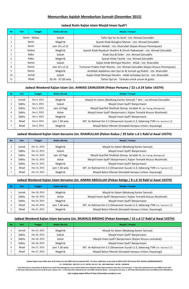 Jadwal Kajian Islam Ilmiah bulan Desember  2015 di Banjarmasin