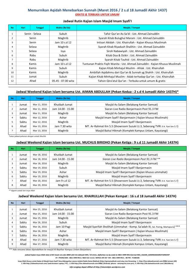 jadwal Kajian islam ilmiah di banjarmasin bulan Maret 2016